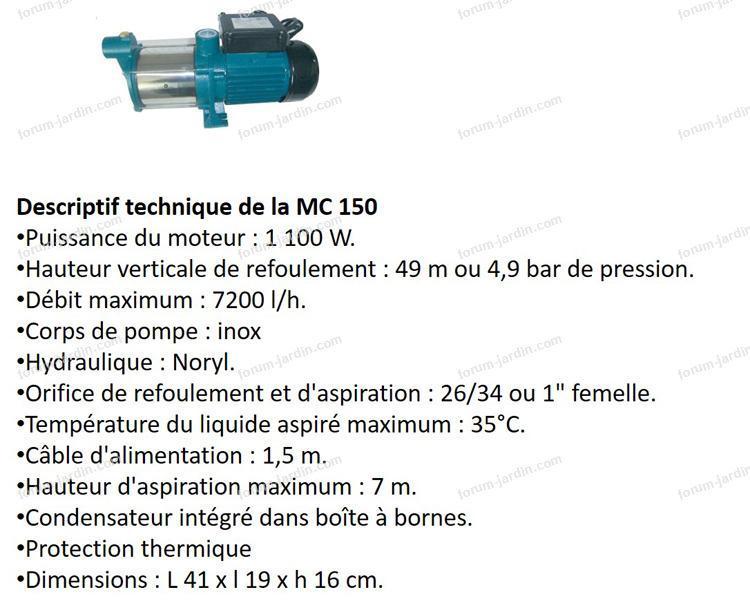 caractéristiques pompe de surface